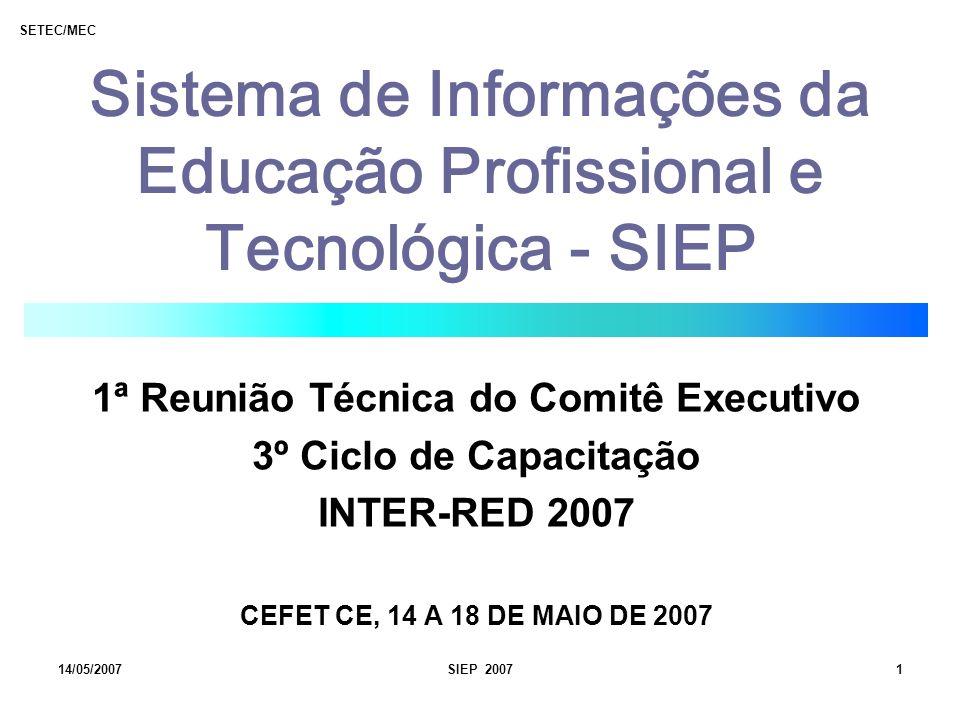 SETEC/MEC 14/05/2007SIEP 20071 Sistema de Informações da Educação Profissional e Tecnológica - SIEP 1ª Reunião Técnica do Comitê Executivo 3º Ciclo de