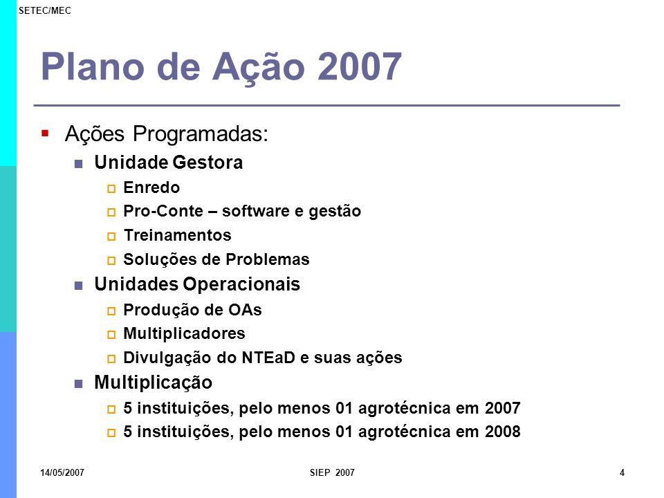 SETEC/MEC 14/05/2007SIEP 20074 Plano de Ação 2007 Ações Programadas: Unidade Gestora Enredo Pro-Conte – software e gestão Treinamentos Soluções de Pro