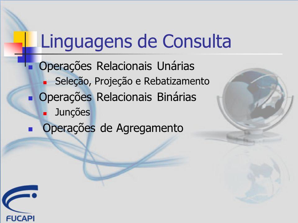 Linguagens de Consulta Operações Relacionais Unárias Seleção, Projeção e Rebatizamento Operações Relacionais Binárias Junções Operações de Agregamento
