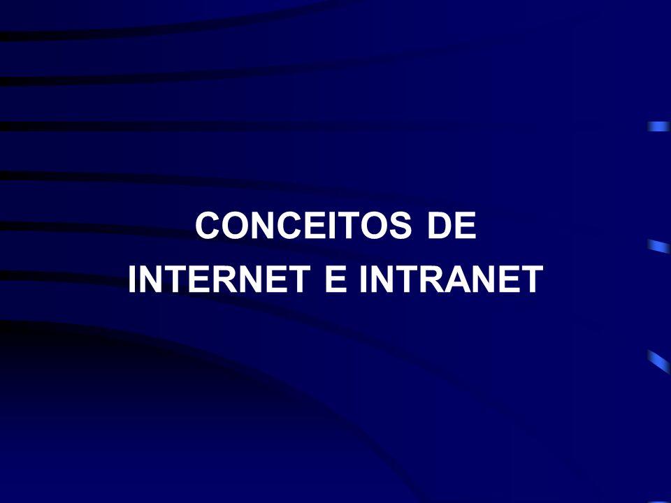 CONCEITOS DE INTERNET E INTRANET INTERNET => A MAIOR DAS REDES, LIGANDO COMPUTADORES MUNDO A FORA.