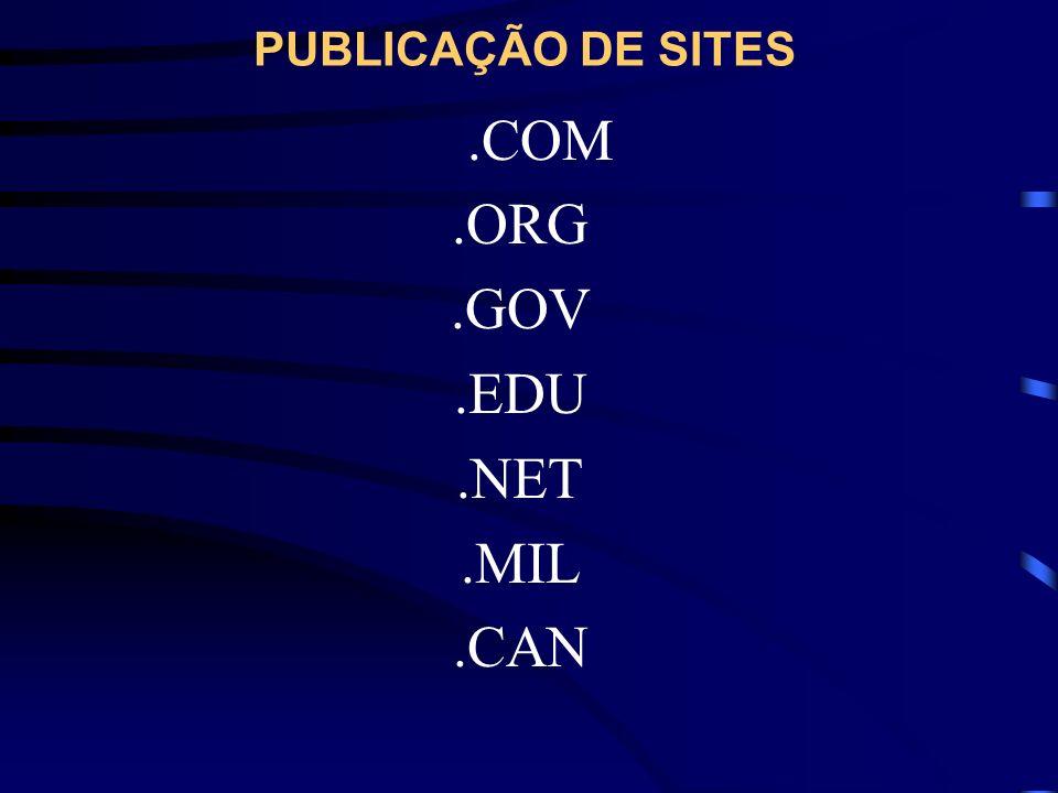 PUBLICAÇÃO DE SITES.COM.ORG.GOV.EDU.NET.MIL.CAN