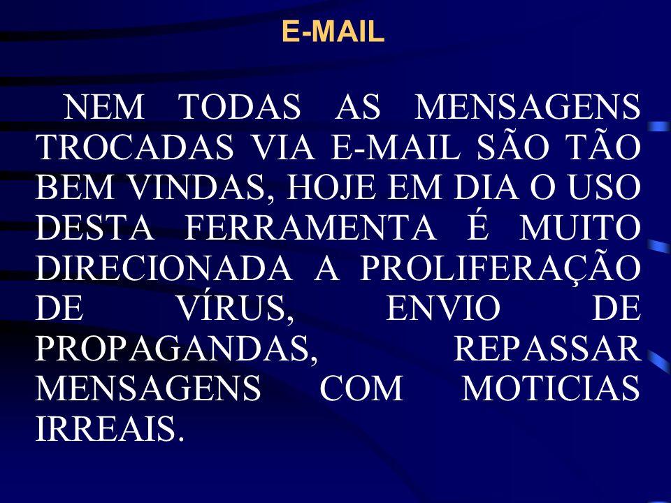 E-MAIL ABAIXO RELACIONAMOS ALGUNS TIPOS DE MENSAGENS BASTANTE COMUNS. CORRENTES SPAM HOAX VÍRUS