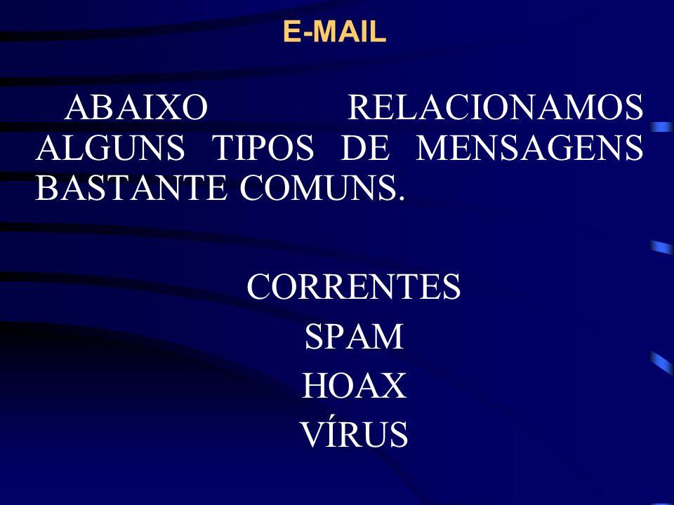 E-MAIL PARA O USO: (ENVIO/RECEBIMENTO, CONSULTA DE E-MAILS) TEMOS DUAS ALTERNATIVAS.