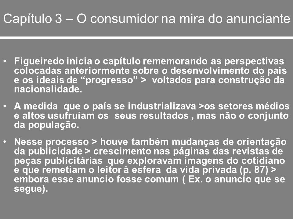 Capítulo 3 – O consumidor na mira do anunciante Figueiredo inicia o capítulo rememorando as perspectivas colocadas anteriormente sobre o desenvolvimen