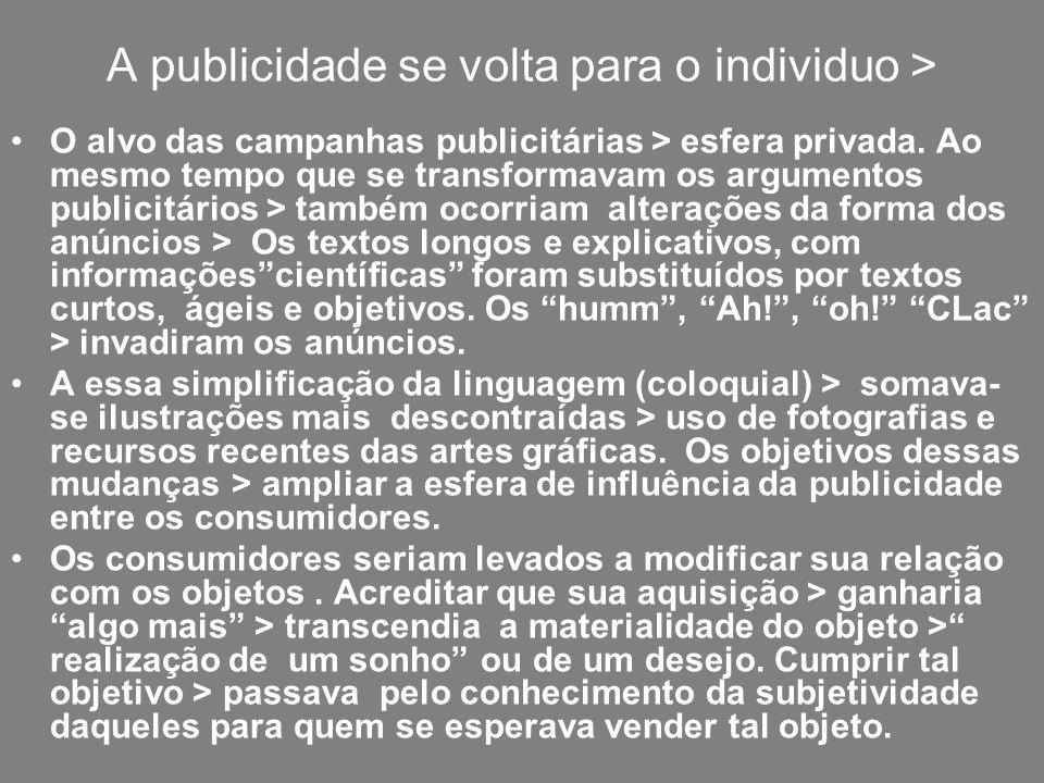 A publicidade se volta para o individuo > O alvo das campanhas publicitárias > esfera privada. Ao mesmo tempo que se transformavam os argumentos publi