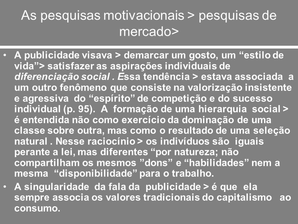 As pesquisas motivacionais > pesquisas de mercado> A publicidade visava > demarcar um gosto, um estilo de vida> satisfazer as aspirações individuais d