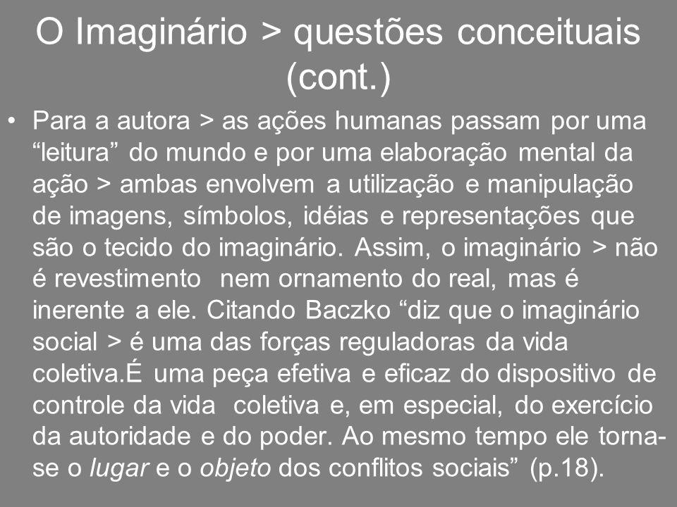 O Imaginário > questões conceituais (cont.) Para a autora > as ações humanas passam por uma leitura do mundo e por uma elaboração mental da ação > amb
