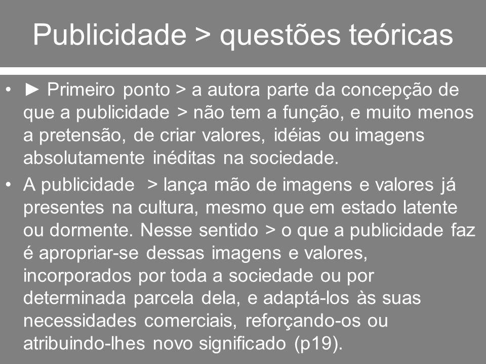 Publicidade - conceituação Figueiredo precisa ainda outro aspecto de seu entendimento sobre o conceito de publicidade > ela não funciona como mero espelho da sociedade, refletindo mecanicamente a realidade social.