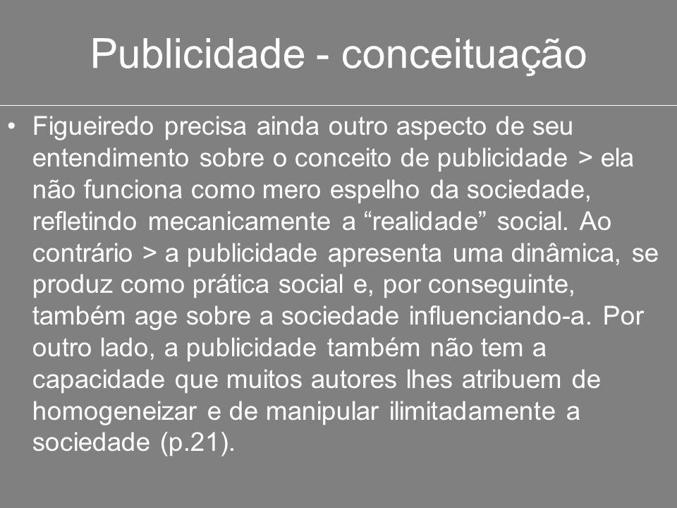 Publicidade - conceituação Figueiredo precisa ainda outro aspecto de seu entendimento sobre o conceito de publicidade > ela não funciona como mero esp