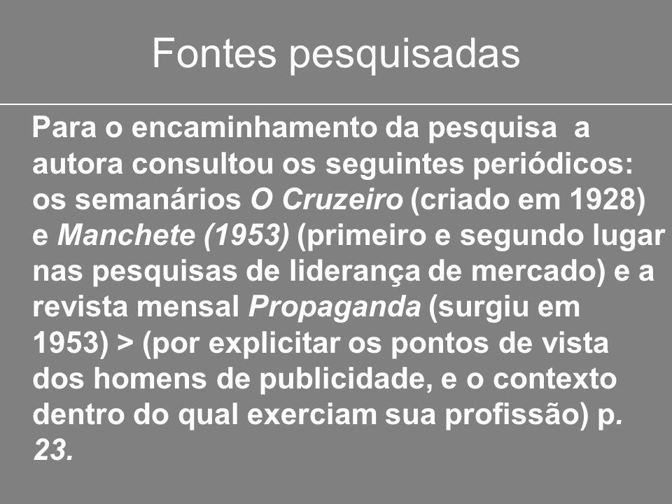 Fontes pesquisadas Para o encaminhamento da pesquisa a autora consultou os seguintes periódicos: os semanários O Cruzeiro (criado em 1928) e Manchete
