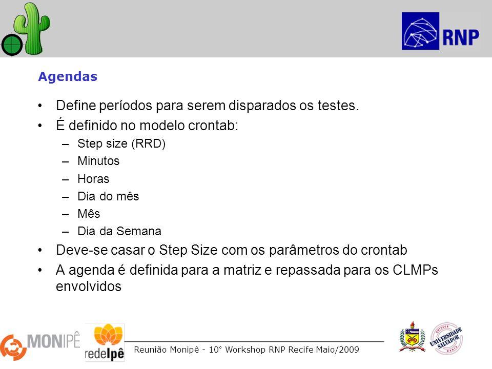 Reunião Monipê - 10° Workshop RNP Recife Maio/2009 Agendas Define períodos para serem disparados os testes. É definido no modelo crontab: –Step size (