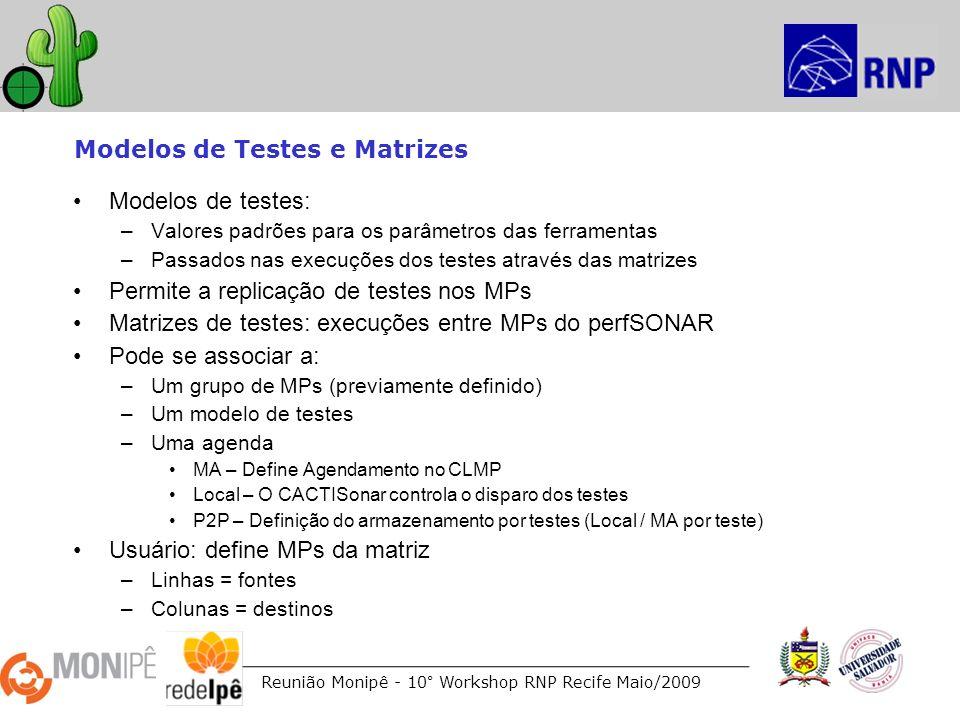 Reunião Monipê - 10° Workshop RNP Recife Maio/2009 Modelos de Testes e Matrizes Modelos de testes: –Valores padrões para os parâmetros das ferramentas