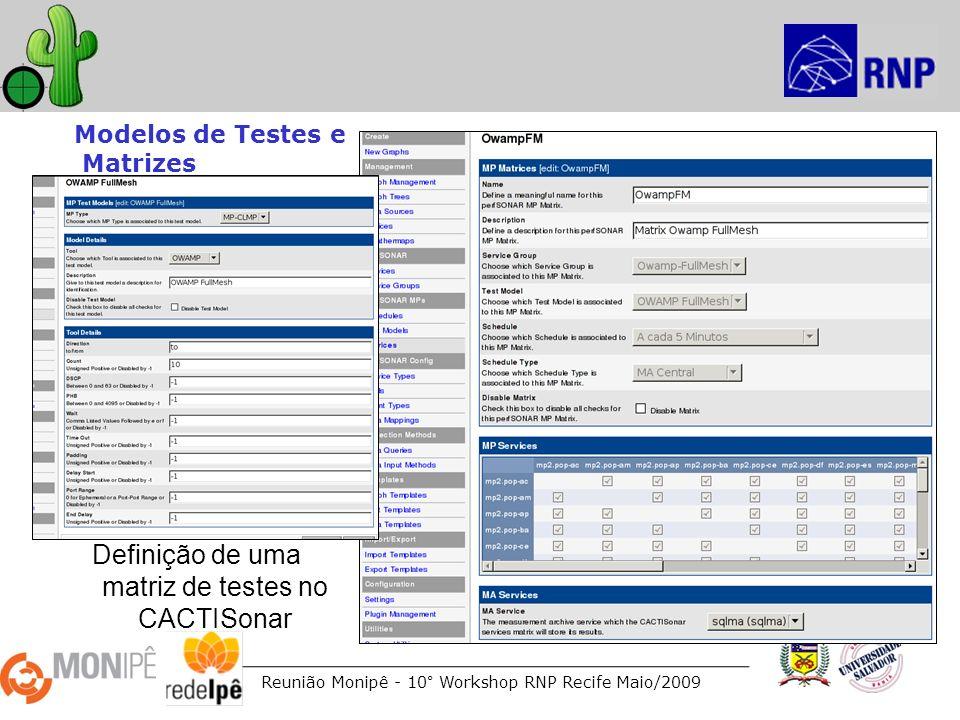 Reunião Monipê - 10° Workshop RNP Recife Maio/2009 Modelos de Testes e Matrizes Definição de uma matriz de testes no CACTISonar