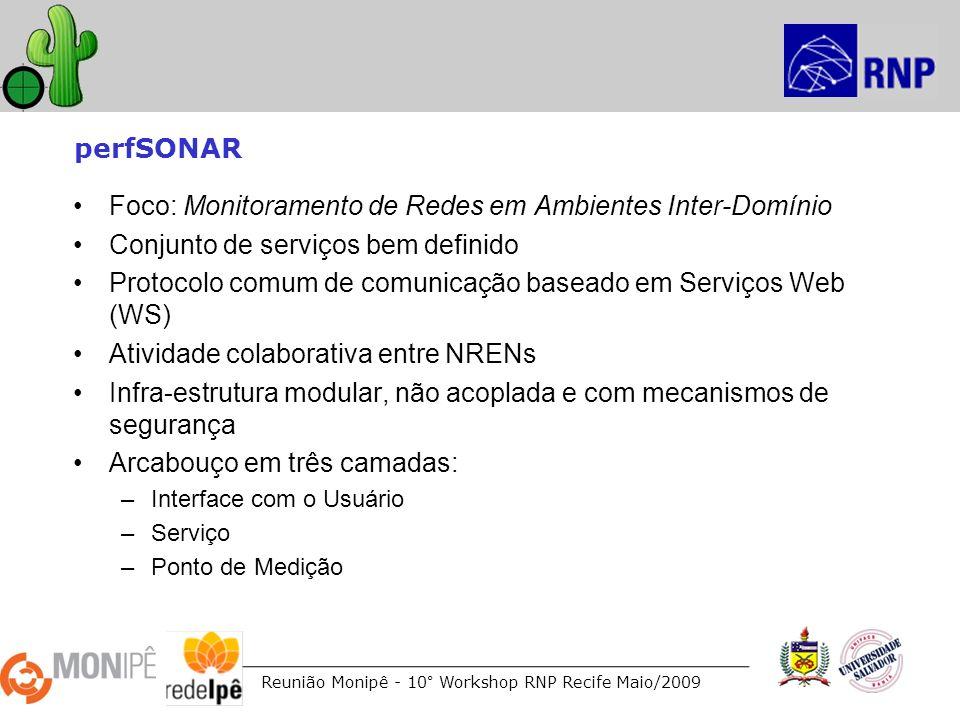 Reunião Monipê - 10° Workshop RNP Recife Maio/2009 perfSONAR Foco: Monitoramento de Redes em Ambientes Inter-Domínio Conjunto de serviços bem definido