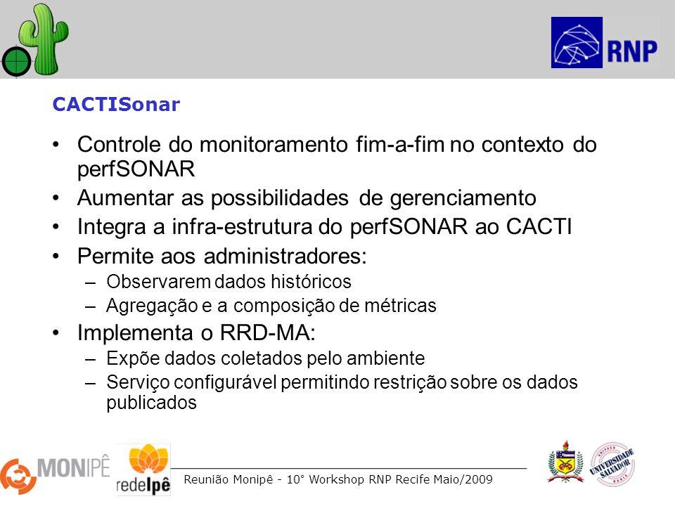Reunião Monipê - 10° Workshop RNP Recife Maio/2009 CACTISonar Controle do monitoramento fim-a-fim no contexto do perfSONAR Aumentar as possibilidades