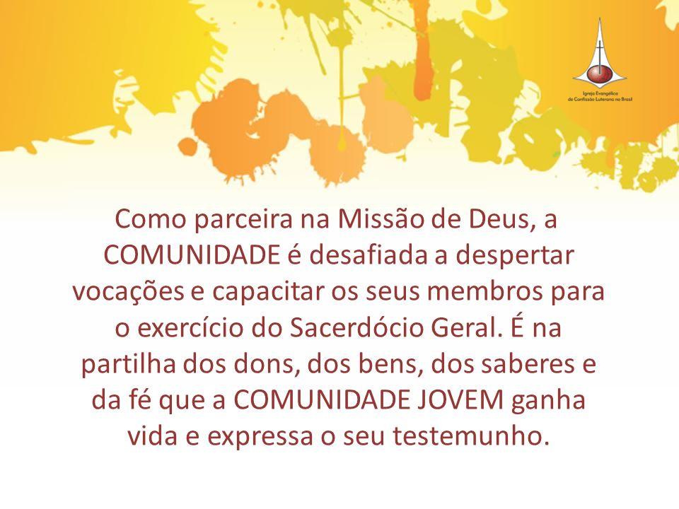 Como parceira na Missão de Deus, a COMUNIDADE é desafiada a despertar vocações e capacitar os seus membros para o exercício do Sacerdócio Geral. É na
