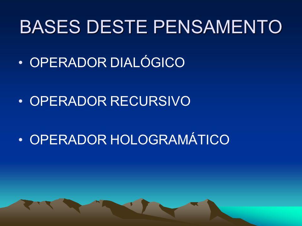 BASES DESTE PENSAMENTO OPERADOR DIALÓGICO OPERADOR RECURSIVO OPERADOR HOLOGRAMÁTICO