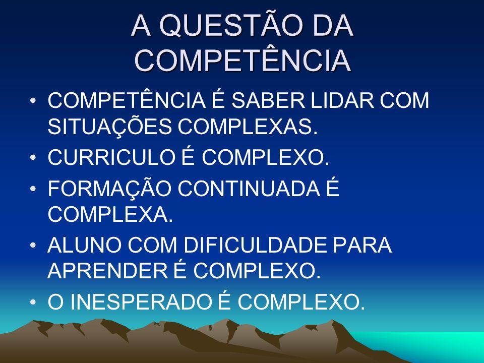A QUESTÃO DA COMPETÊNCIA COMPETÊNCIA É SABER LIDAR COM SITUAÇÕES COMPLEXAS. CURRICULO É COMPLEXO. FORMAÇÃO CONTINUADA É COMPLEXA. ALUNO COM DIFICULDAD