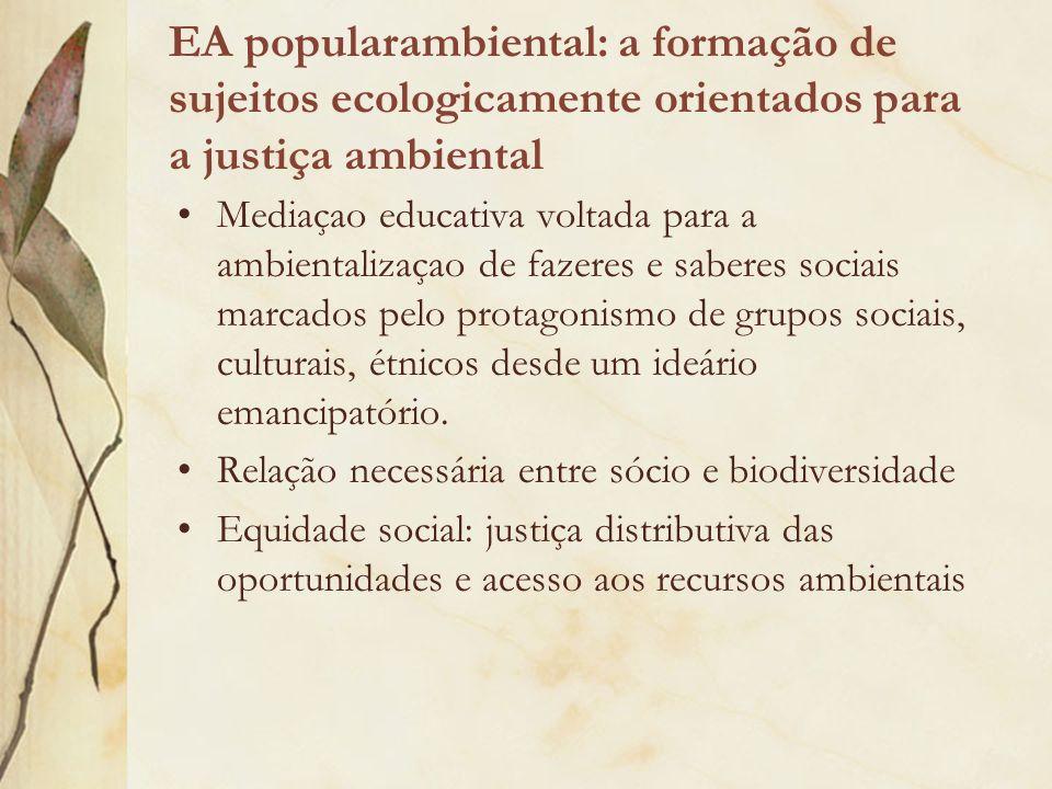 EA popularambiental: a formação de sujeitos ecologicamente orientados para a justiça ambiental Mediaçao educativa voltada para a ambientalizaçao de fa