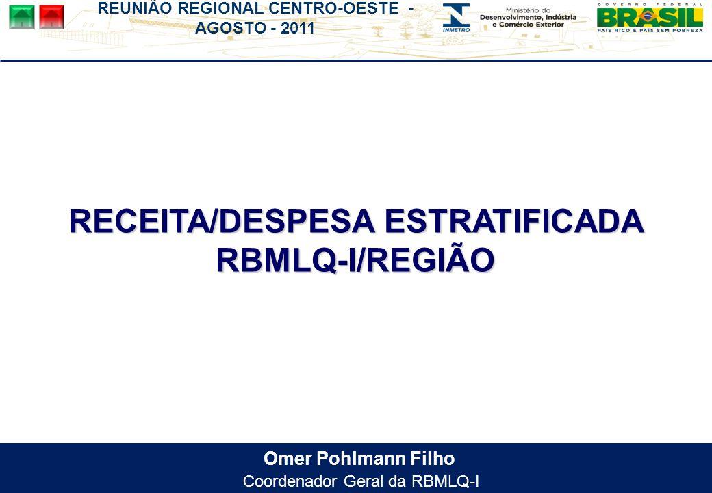 Omer Pohlmann Filho Coordenador Geral da RBMLQ-I RECEITA/DESPESA ESTRATIFICADA RBMLQ-I/REGIÃO