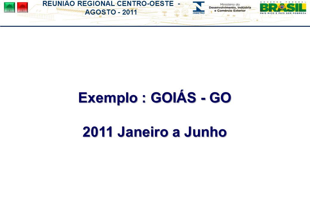 REUNIÃO REGIONAL CENTRO-OESTE - AGOSTO - 2011 Exemplo : GOIÁS - GO 2011 Janeiro a Junho