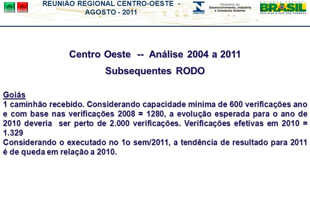 Centro Oeste -- Análise 2004 a 2011 Subsequentes RODO Goiás 1 caminhão recebido. Considerando capacidade mínima de 600 verificações ano e com base nas