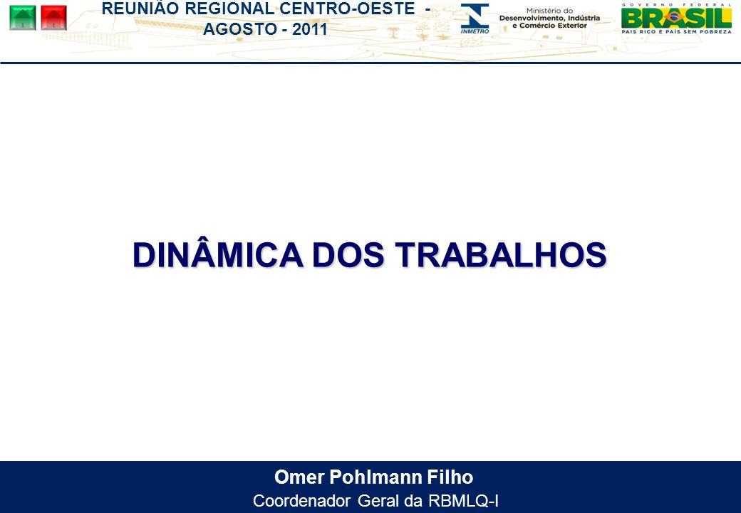 REUNIÃO REGIONAL CENTRO-OESTE - AGOSTO - 2011 Omer Pohlmann Filho Coordenador Geral da RBMLQ-I DINÂMICA DOS TRABALHOS