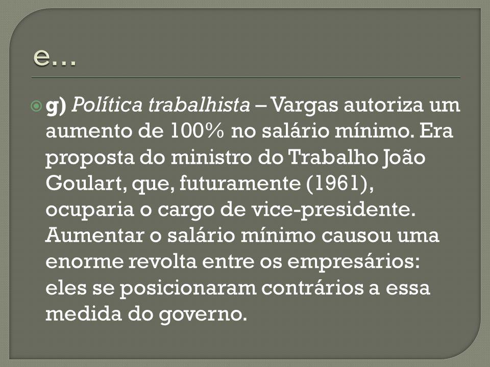 g) Política trabalhista – Vargas autoriza um aumento de 100% no salário mínimo. Era proposta do ministro do Trabalho João Goulart, que, futuramente (1