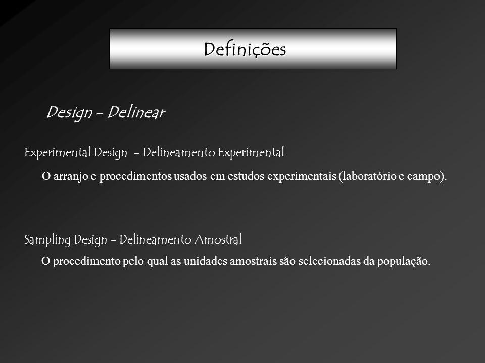 Definições Design - Delinear Experimental Design - Delineamento Experimental Sampling Design - Delineamento Amostral O arranjo e procedimentos usados