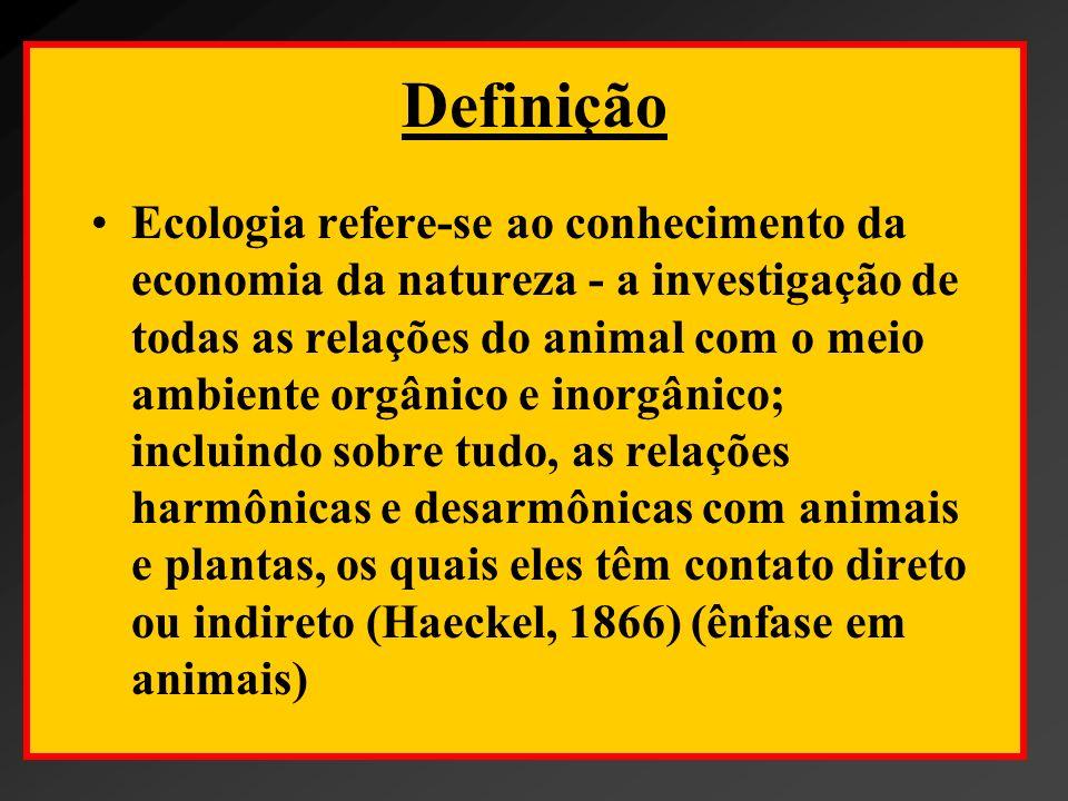 Definição O estudo científico da distribuição e abundância dos organismos (Andrewartha, 1954) (denota uma ciência descritiva e baseada no organismo); O estudo das relações do organismo ou grupo de organismos e seus ambientes (Odum, 1959) (mais ênfase nas interações e nos fatores ambientais).