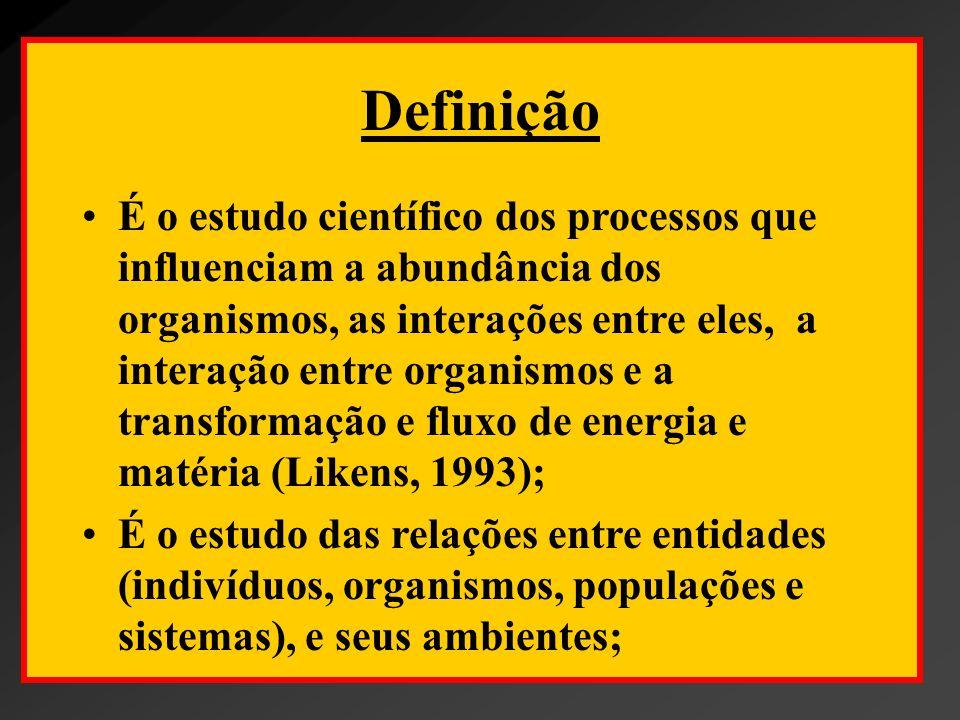 Definição É o estudo científico dos processos que influenciam a abundância dos organismos, as interações entre eles, a interação entre organismos e a