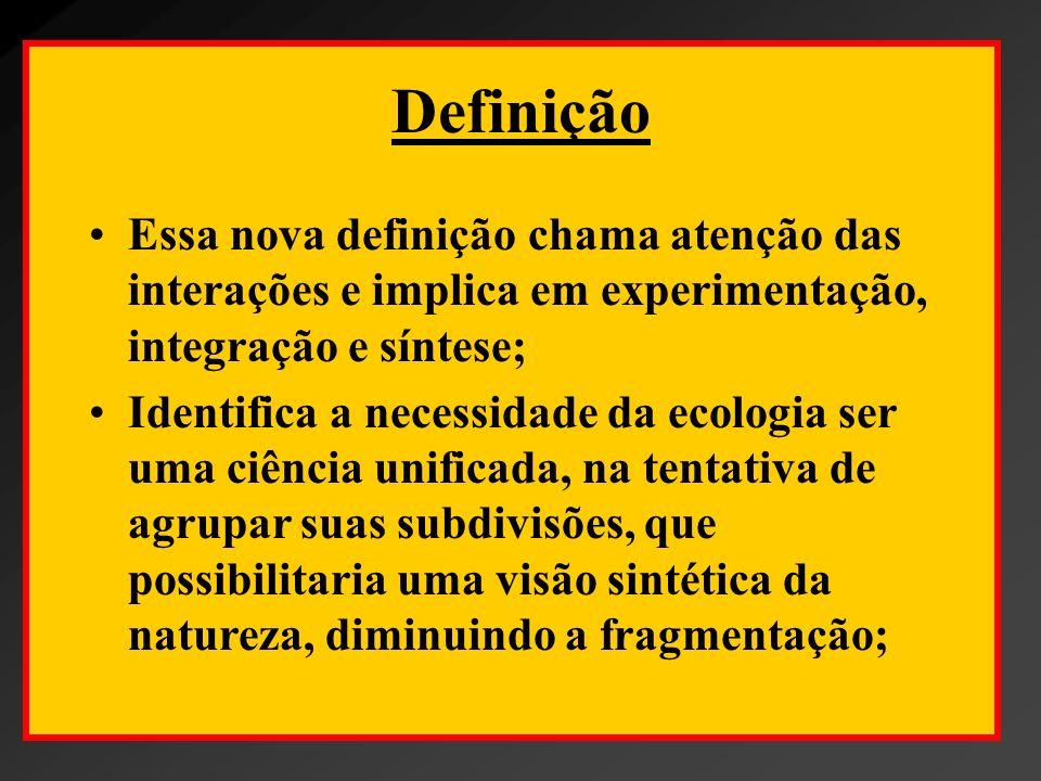 Definição Essa nova definição chama atenção das interações e implica em experimentação, integração e síntese; Identifica a necessidade da ecologia ser