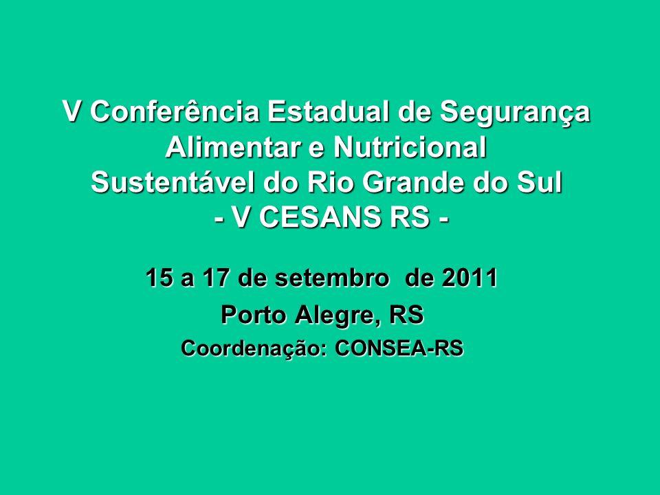 Conferências Municipais e/ou Regionais ou Territoriais de Segurança Alimentar e Nutricional no RS - 2011 1º de abril a 15 de julho de 2011 12 Regiões de Segurança Alimentar do RS Coordenação: COMSANS