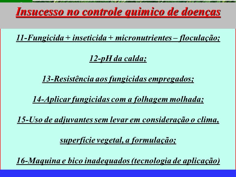 mzuppi.cursos@gmail.com Educação e Treinamento do Homem do Campo 11-Fungicida + inseticida + micronutrientes – floculação; 12-pH da calda; 13-Resistên