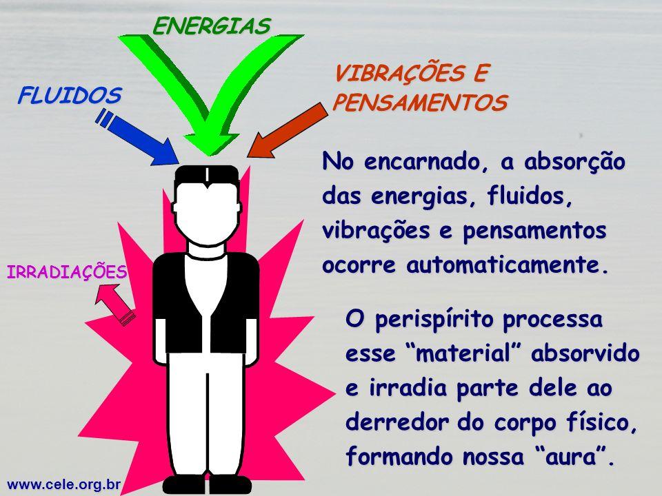 FLUIDOSENERGIAS VIBRAÇÕES E PENSAMENTOS No encarnado, a absorção das energias, fluidos, vibrações e pensamentos ocorre automaticamente. www.cele.org.b