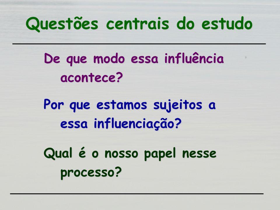 Questões centrais do estudo De que modo essa influência acontece? Por que estamos sujeitos a essa influenciação? Qual é o nosso papel nesse processo?