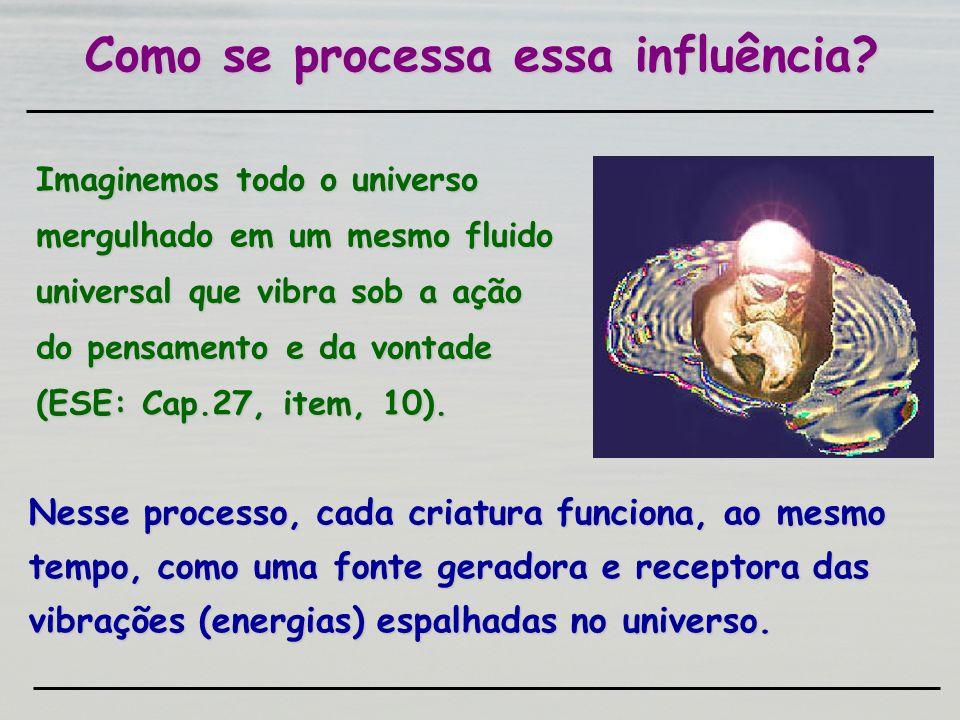 Nesse processo, cada criatura funciona, ao mesmo tempo, como uma fonte geradora e receptora das vibrações (energias) espalhadas no universo. Como se p