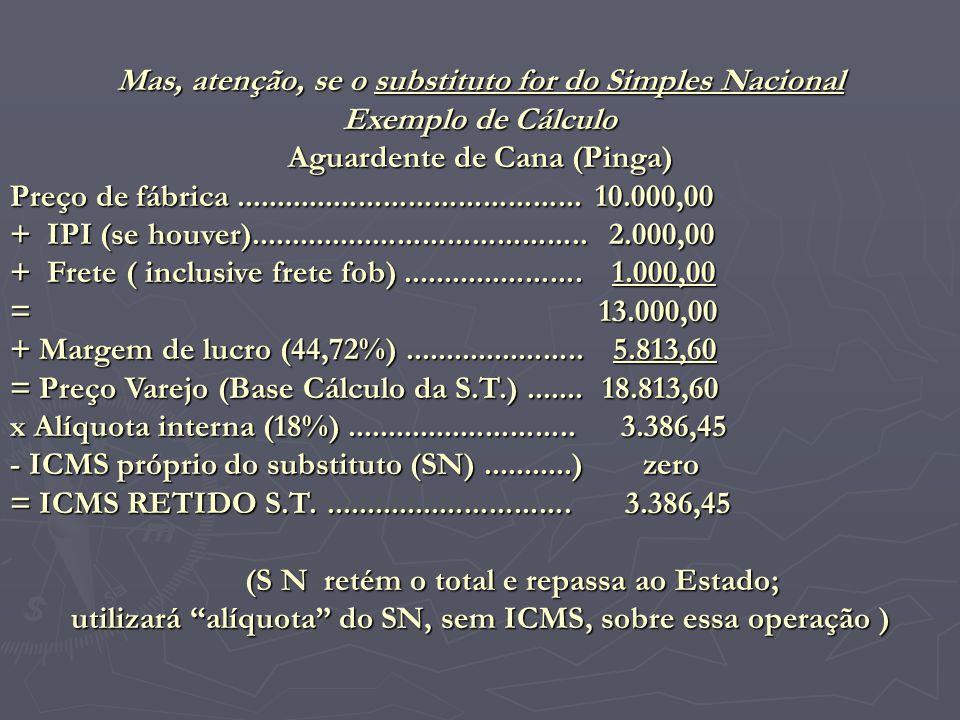 Mas, atenção, se o substituto for do Simples Nacional Exemplo de Cálculo Aguardente de Cana (Pinga) Preço de fábrica..................................