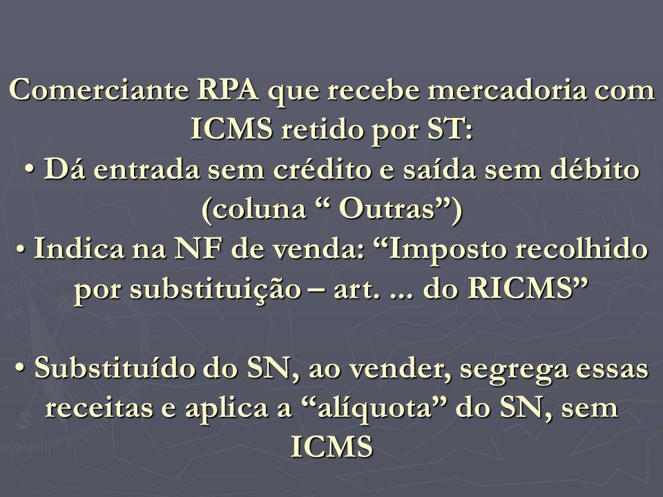 Comerciante RPA que recebe mercadoria com ICMS retido por ST: D Dá entrada sem crédito e saída sem débito (coluna Outras) I Indica na NF de venda: Imp