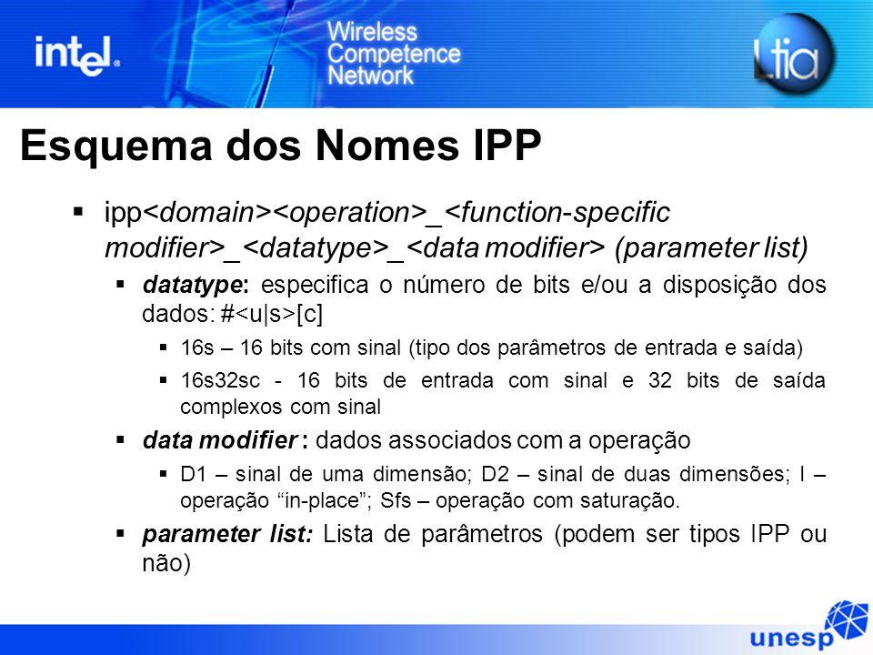 Esquema dos Nomes IPP ipp _ _ _ (parameter list) datatype: especifica o número de bits e/ou a disposição dos dados: # [c] 16s – 16 bits com sinal (tipo dos parâmetros de entrada e saída) 16s32sc - 16 bits de entrada com sinal e 32 bits de saída complexos com sinal data modifier : dados associados com a operação D1 – sinal de uma dimensão; D2 – sinal de duas dimensões; I – operação in-place; Sfs – operação com saturação.