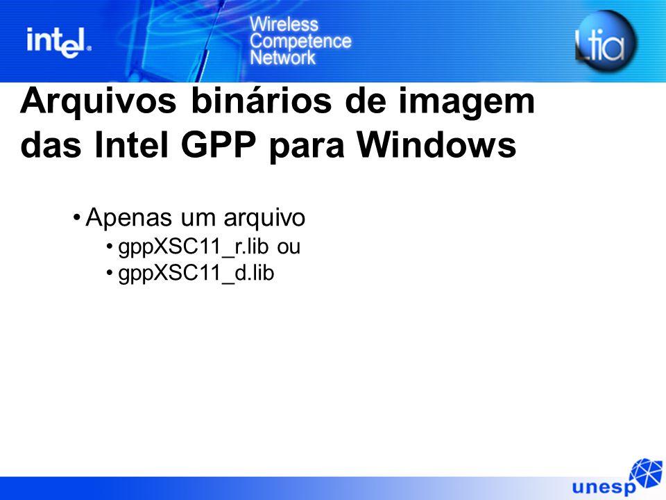 Arquivos binários de imagem das Intel GPP para Windows Apenas um arquivo gppXSC11_r.lib ou gppXSC11_d.lib
