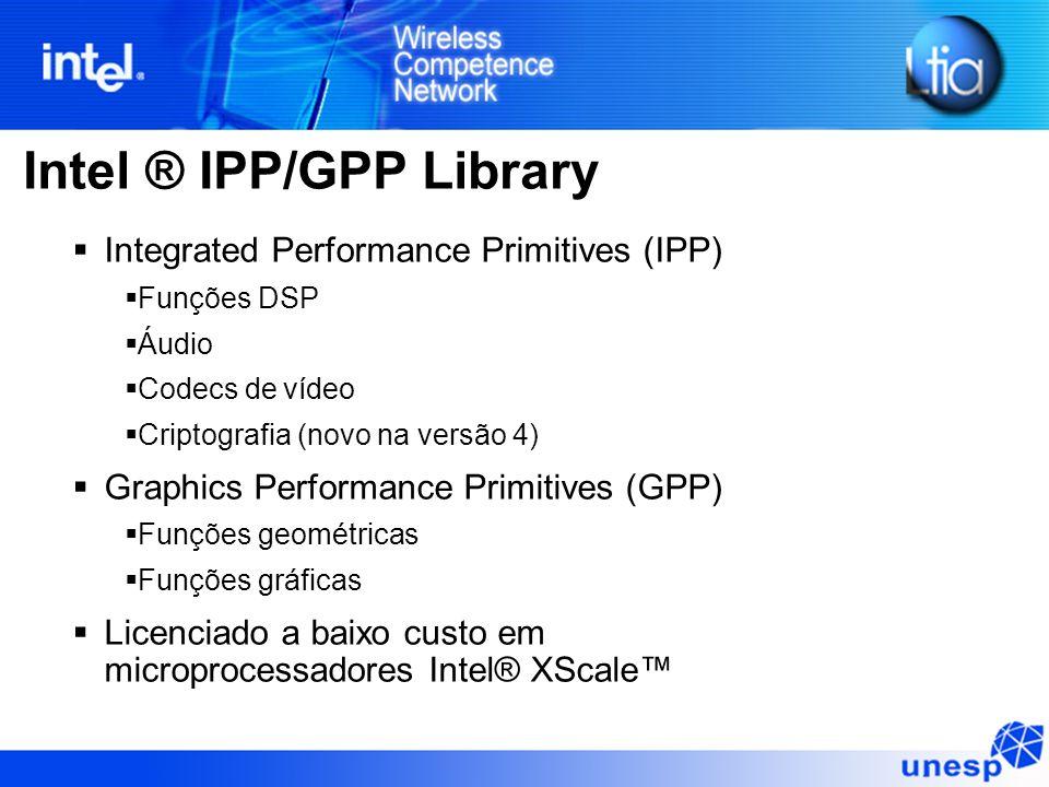 Intel ® IPP/GPP Library Integrated Performance Primitives (IPP) Funções DSP Áudio Codecs de vídeo Criptografia (novo na versão 4) Graphics Performance Primitives (GPP) Funções geométricas Funções gráficas Licenciado a baixo custo em microprocessadores Intel® XScale