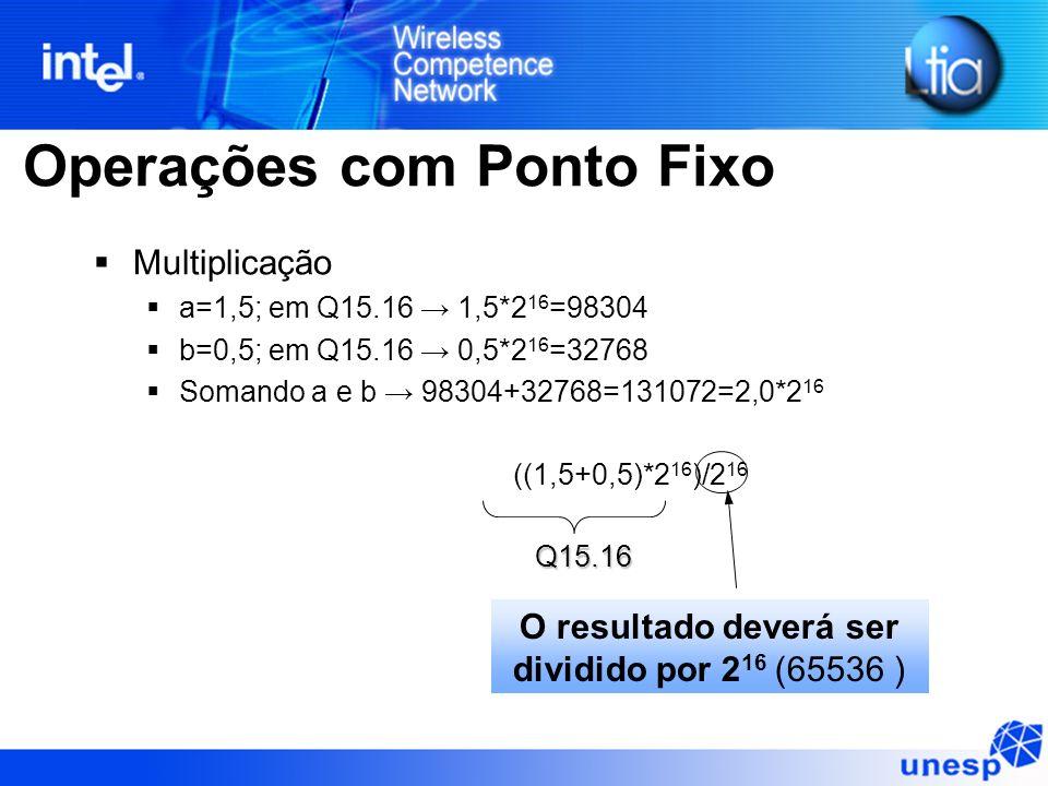 Operações com Ponto Fixo Multiplicação a=1,5; em Q15.16 1,5*2 16 =98304 b=0,5; em Q15.16 0,5*2 16 =32768 Somando a e b 98304+32768=131072=2,0*2 16 ((1,5+0,5)*2 16 )/2 16 Q15.16 O resultado deverá ser dividido por 2 16 (65536 )