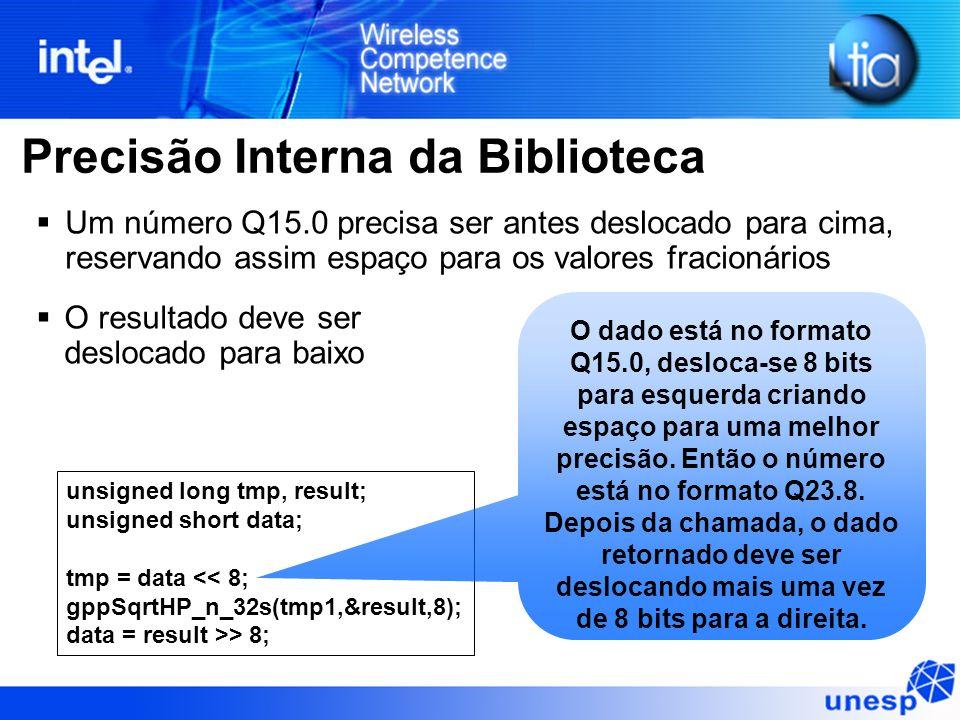 Precisão Interna da Biblioteca O resultado deve ser deslocado para baixo unsigned long tmp, result; unsigned short data; tmp = data << 8; gppSqrtHP_n_32s(tmp1,&result,8); data = result >> 8; Um número Q15.0 precisa ser antes deslocado para cima, reservando assim espaço para os valores fracionários O dado está no formato Q15.0, desloca-se 8 bits para esquerda criando espaço para uma melhor precisão.