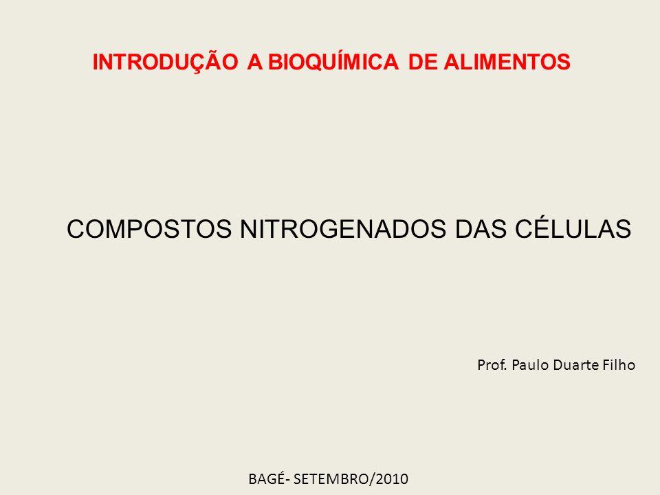 COMPOSTOS NITROGENADOS DAS CÉLULAS INTRODUÇÃO A BIOQUÍMICA DE ALIMENTOS Prof. Paulo Duarte Filho BAGÉ- SETEMBRO/2010