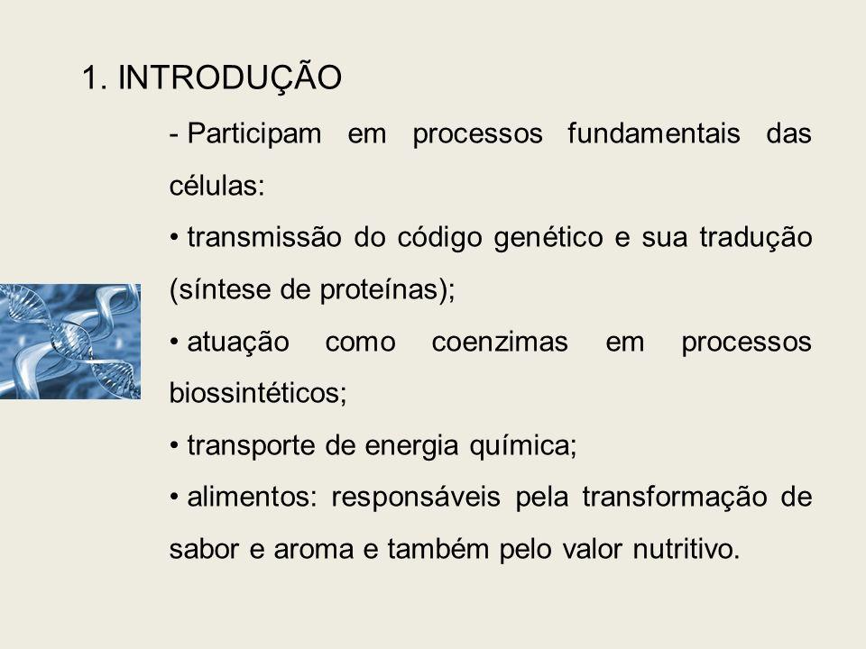 1. INTRODUÇÃO - Participam em processos fundamentais das células: transmissão do código genético e sua tradução (síntese de proteínas); atuação como c