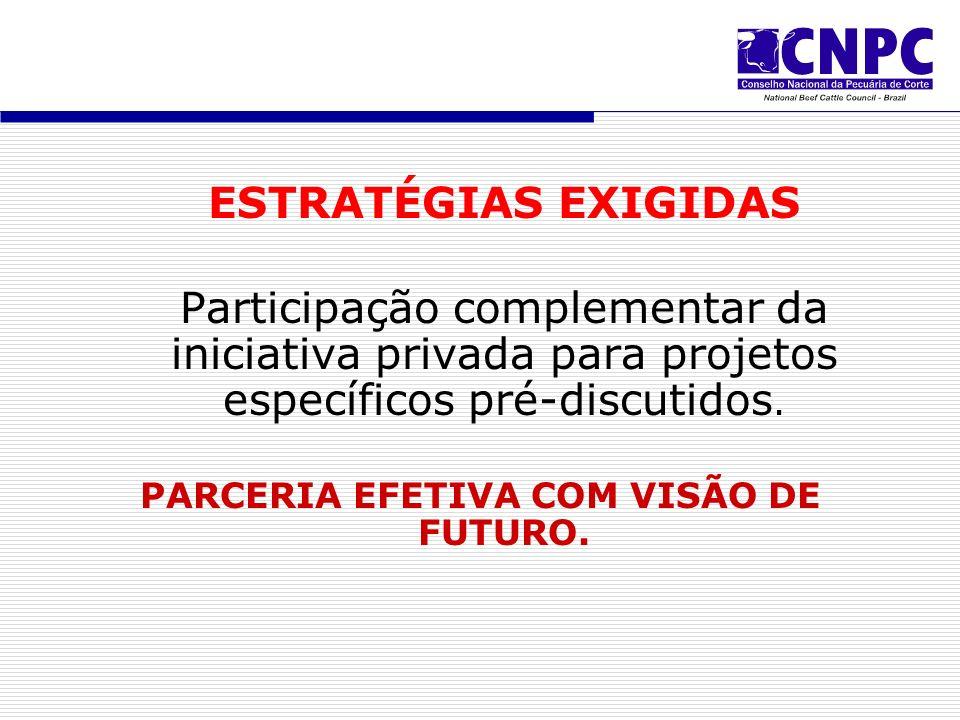 ESTRATÉGIAS EXIGIDAS Participação complementar da iniciativa privada para projetos específicos pré-discutidos.