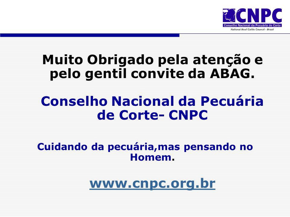 Muito Obrigado pela atenção e pelo gentil convite da ABAG.