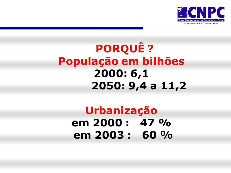 PORQUÊ ? População em bilhões 2000: 6,1 2050: 9,4 a 11,2 Urbanização em 2000 : 47 % em 2003 : 60 %