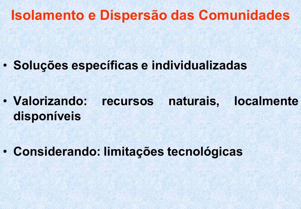 Isolamento e Dispersão das Comunidades Soluções específicas e individualizadas Valorizando: recursos naturais, localmente disponíveis Considerando: li